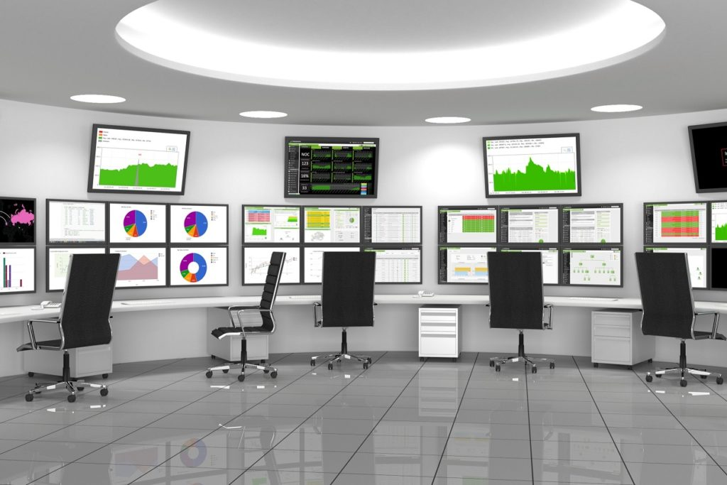 a NOC or SOC, screens on the walls for easy monitoring